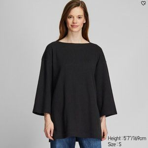WOMEN WIDE-RIBBED RELAXED 3/4 SLEEVE TUNIC BLACK S